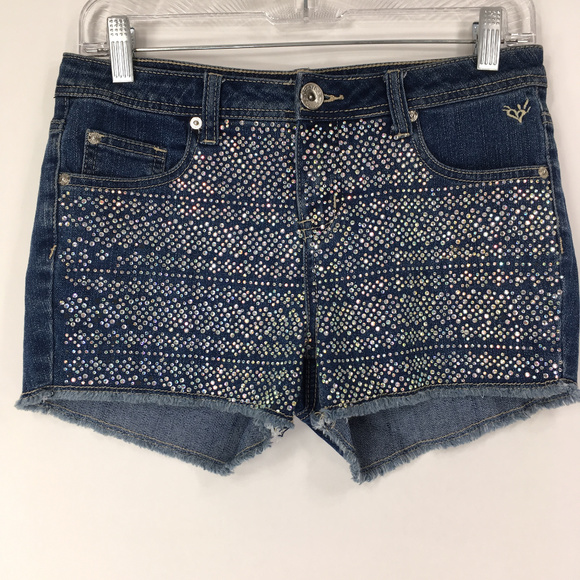 Justice Pants - Justice 16R (Womens 28) Denim Jean Shorts Bling